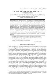 An Ideal Solution to the Problem of Consciousness - University of ...