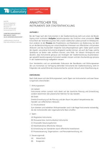 Aufgabe 2 (PDF) - Urban Research and Design Laboratory - TU Berlin