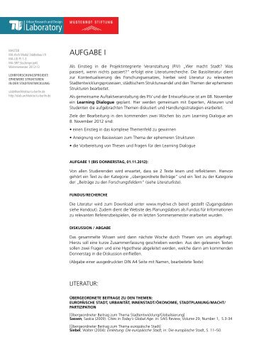 Aufgabe 1 (PDF) - Urban Research and Design Laboratory - TU Berlin