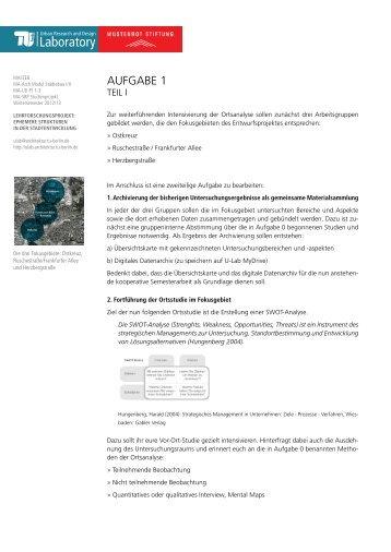 Aufgabe 1 (PDF) - Urban Research and Design Laboratory - TU Berlin