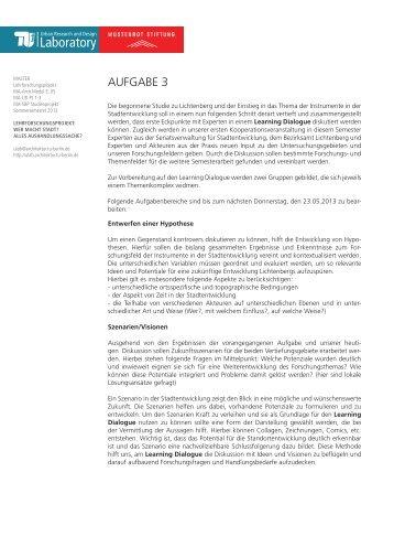 Aufgabe 3 (PDF) - Urban Research and Design Laboratory - TU Berlin