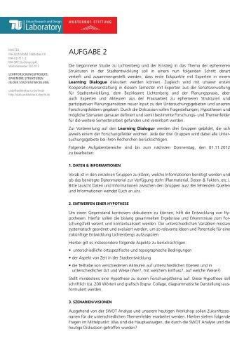 Aufgabe 2 (PDF) - Urban Research and Design Laboratory - TU Berlin