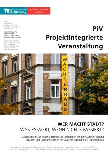 Handout PiV (PDF) - Urban Research and Design Laboratory - TU ...