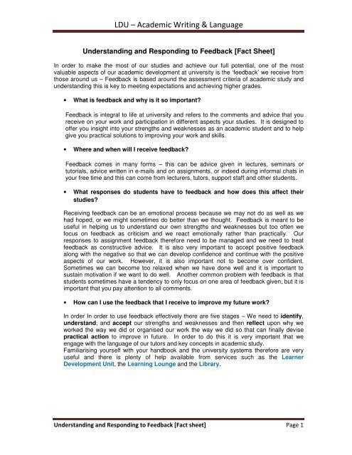 Understanding & Responding to Feedback Fact sheet - UniHub