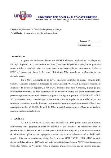 Regulamento da Comissão Própria de Avaliação (com ... - Uniplac