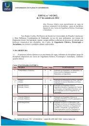 Edital n 143 - 12 - Processo seletivo docente - eng eltrica ... - Uniplac