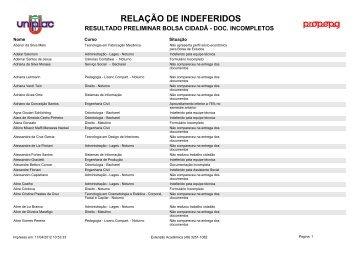 Anexo I - Resultado Preliminar Bolsa Cidadã - Uniplac