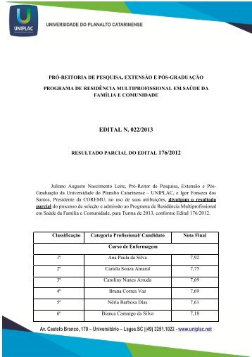 Resultado Parcial RMSFC (Edital 176-12) - Uniplac