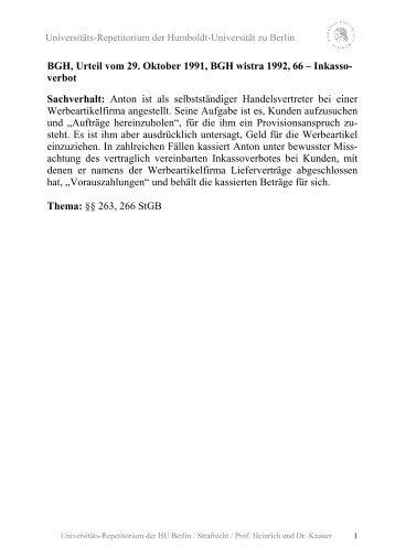 BGH, Urteil vom 29. Oktober 1991, BGH wistra 1992, 66 - unirep ...