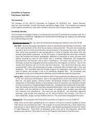 Committee on Programs Final Report, 2010-2011 - UCLA