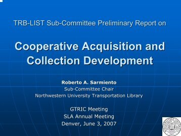 Cooperative Acquisition and Collection Development ... - units.sla.org
