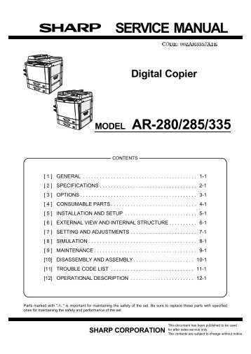 sharp ar 160 ar 161 ar 200 ar 205 digital copier service repair manual