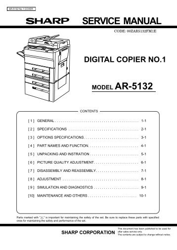 service manual sharp ar 287 digital copier
