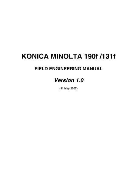 KONICA MINOLTA 190f /131f FIELD ENGINEERING MANUAL