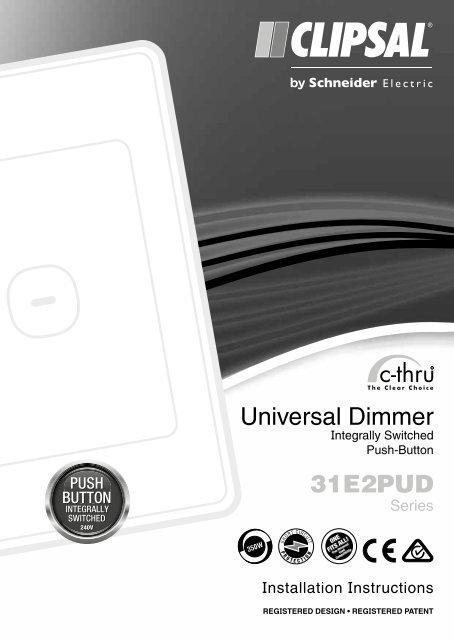 31e2pud Series C Thru Universal Dimmer Integrally Clipsal