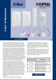 Product Data Sheet - C-Bus 30 Mechanism, 19953 (141 KB) - Clipsal