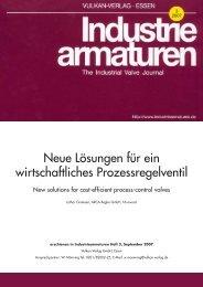 Fachaufsatz Industriearmaturen: Neue ... - ARCA Regler Gmbh