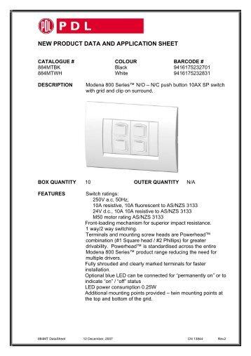 Product Data Sheet - 884MT Modena 800 Series Push ... - Clipsal