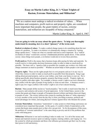 an essay on martin luther king jr Martin luther king jr essay social studies 8a 4/27/10  martin luther king jr is a well known and an inspiring man to all cultures of the world king was and still is one of the most influential heroes king's views and believes helped african americans through the 50's and 60's to the rights and liberties that was their right.