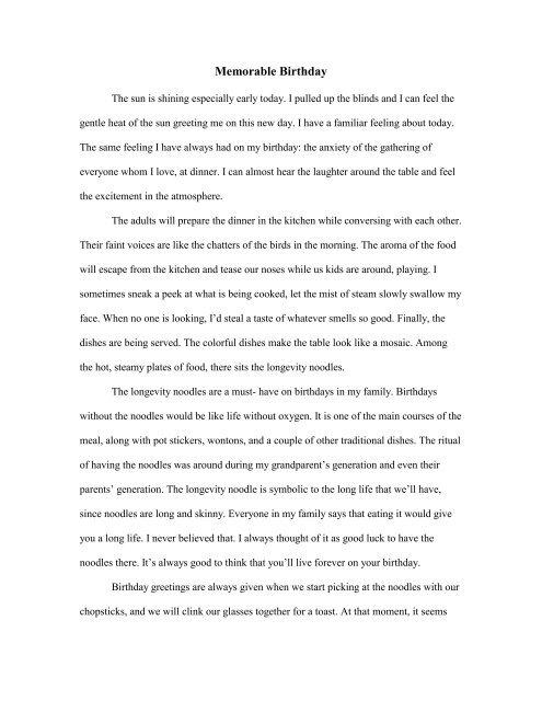 birthday essay