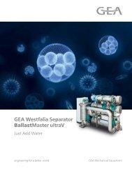 GEA Westfalia Separator BallastMaster ultraV brochure