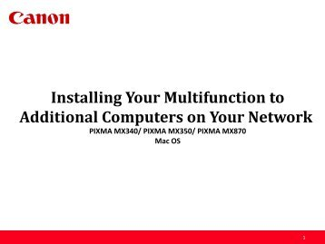Installing Your Multifunction to Additional ... - Canon USA, Inc.