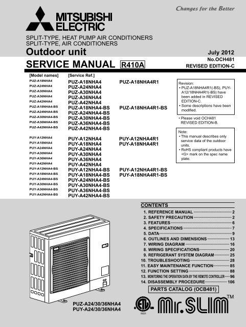 SERVICE MANUAL Outdoor unit - MyLinkDrive | Split System Wiring Diagrams For Mitsubishi Pkaa24 |  | Yumpu