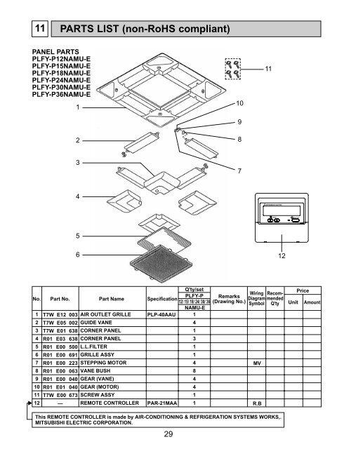 parts list  non-rohs compliant  11