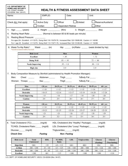 Health Fitness Assessment Data Sheet U S Coast Guard Generally, fitness is assessed in four key areas: health fitness assessment data sheet