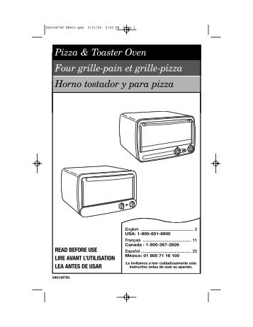 presto pizzazz pizza oven instructions