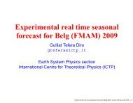 Experimental real time seasonal forecast for Belg (FMAM) 2009 - ICTP