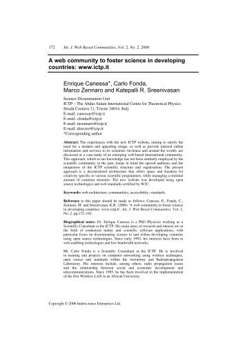 A web community to foster science in developing countries: www ...