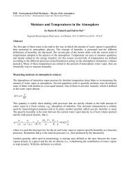 Moisture and Temperatures in the Atmosphere - ICTP