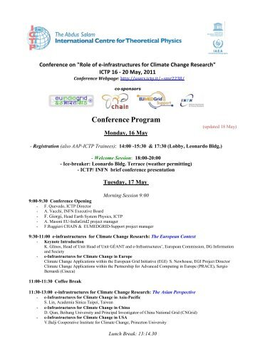 Conference on Role of e-infrastructures for Climate Change ... - ICTP