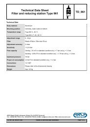 Technical Data Sheet Filter and reducing station Type 961 TD 961