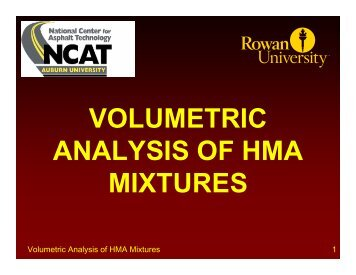 VOLUMETRIC ANALYSIS OF HMA MIXTURES - Rowan