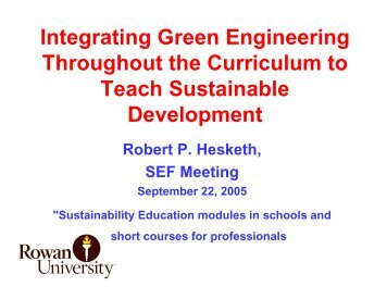 Green Engineering Project - Rowan - Rowan University