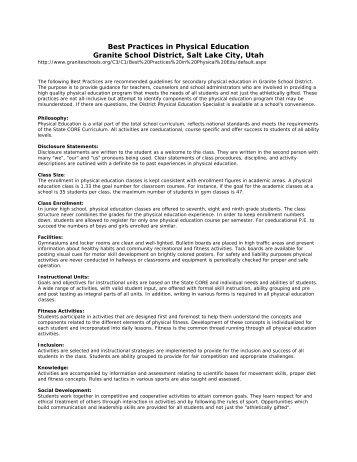 Best Practices in Physical Education Granite School District ... - Rowan