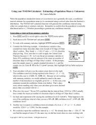 Using your TI-83/84 Calculator: Estimating a Population ... - Rowan