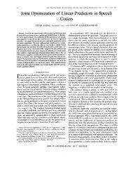 Joint optimization of linear predictors in speech - Acoustics ... - Rowan