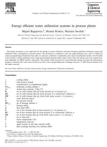 Energy efficient water utilization systems in process plants - Rowan ...