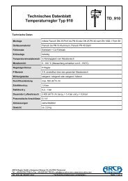 Technisches Datenblatt Temperaturregler Typ ... - ARCA Valve Group