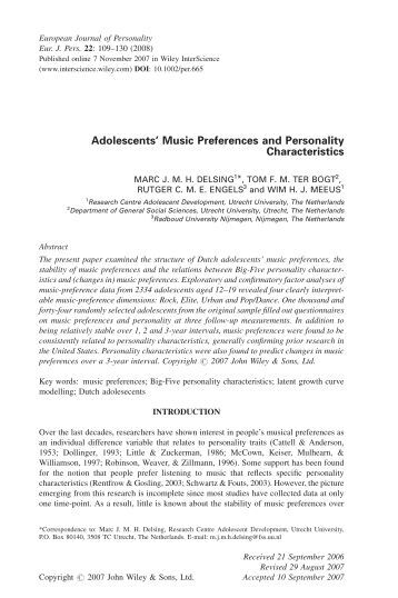 "musical preference and adolescent personalities essay Rock music is a broad genre of popular music  to bind rock music to a rigidly delineated musical  being used in preference to ""rock and."