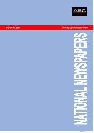 September 2009 Industry agreed measurement