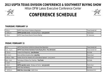 2013 Conference Schedule - USPTA divisions