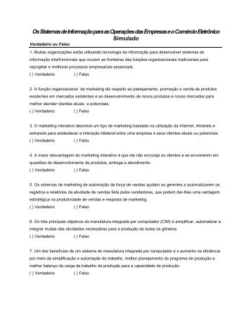 Os Sistemas de Informação para as Operações das Empresas e o ...