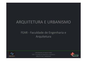 ARQUITETURA E URBANISMO - Universidade de Passo Fundo