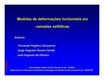 Medidas de deformações horizontais em camadas asfálticas