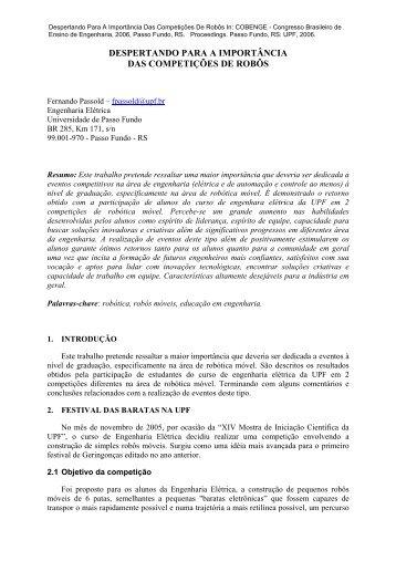 Artigo aceito no COBENGE'2006 - Universidade de Passo Fundo