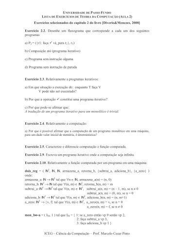 ICEG – Ciência da Computação – Prof. Marcelo Cezar Pinto ...